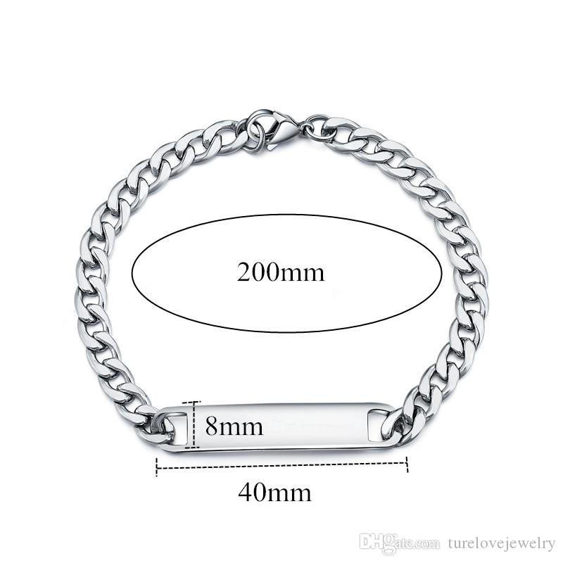 2019 hot sale personalized Customized Name ID Bracelets Female Male Personalized Gift,Stainless Steel Name Engraved ID Tag Bracelet