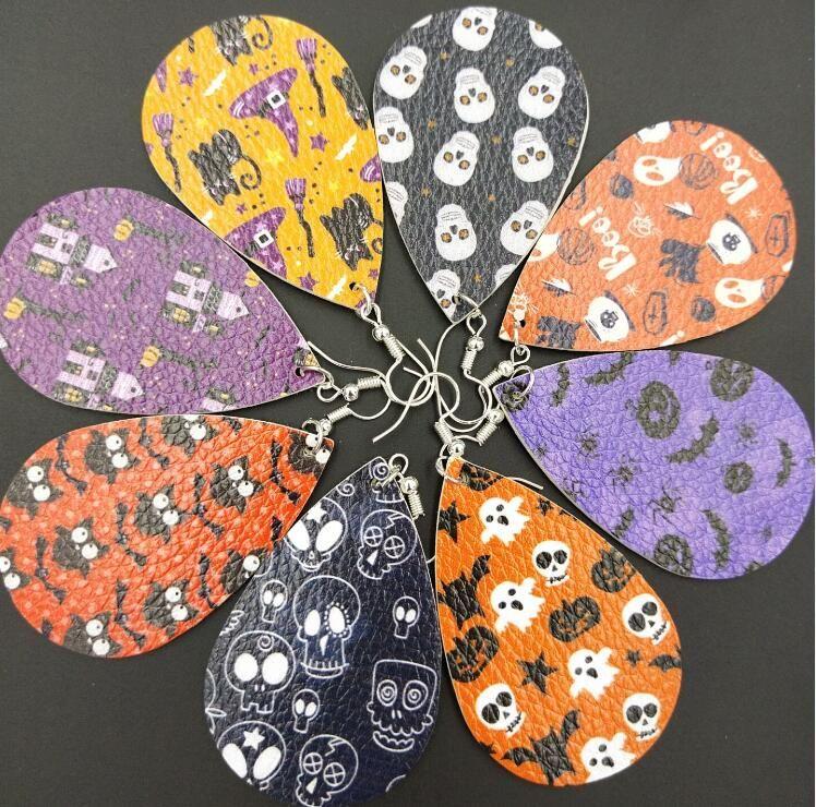 تصميم فريد من نوعه قطع روز طباعة الزهور جلدية الدمعة أقراط للمرأة المسيل للدموع قطرات صالح للجميع