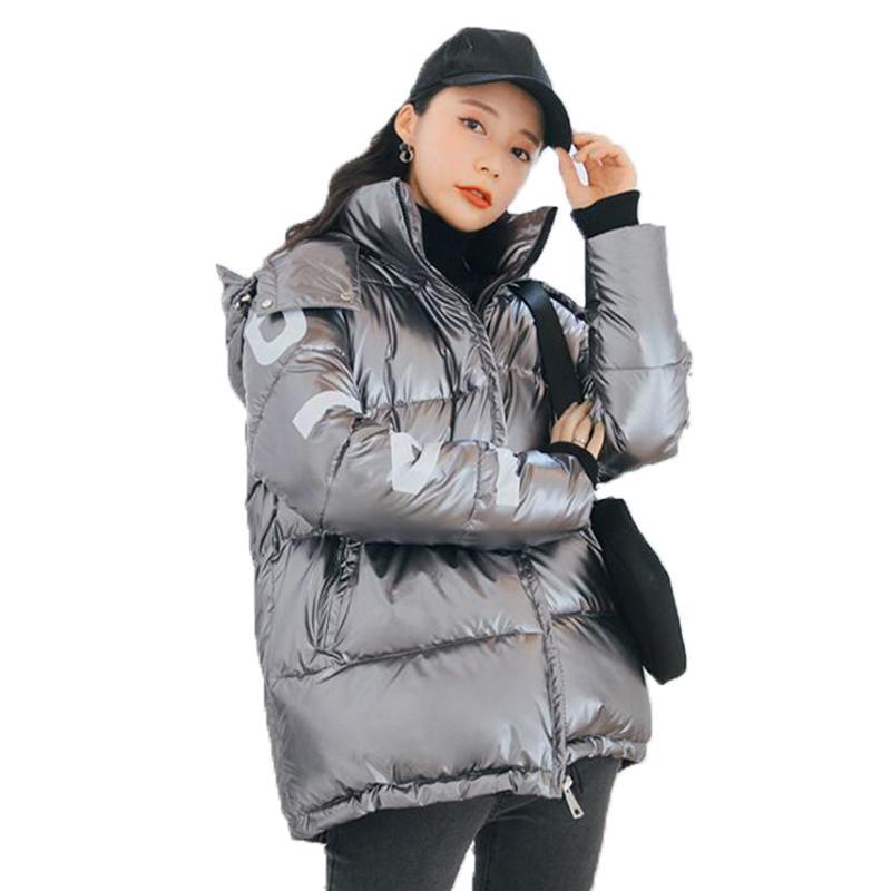 Зимняя женская глянцевая хлопок мягкая сгущение сгущенного теплых пальто Женщины Письмо печатать зимнюю куртку Женщины свободные моды повседневные Parka