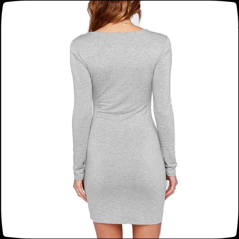 2020 Eur Seksi Kadınlar Kılıf Elbise Kadın Mürettebat Boyun Uzun Kollu Sıkı Slim Fit Elbise Pamuk Casual Mini Elbise