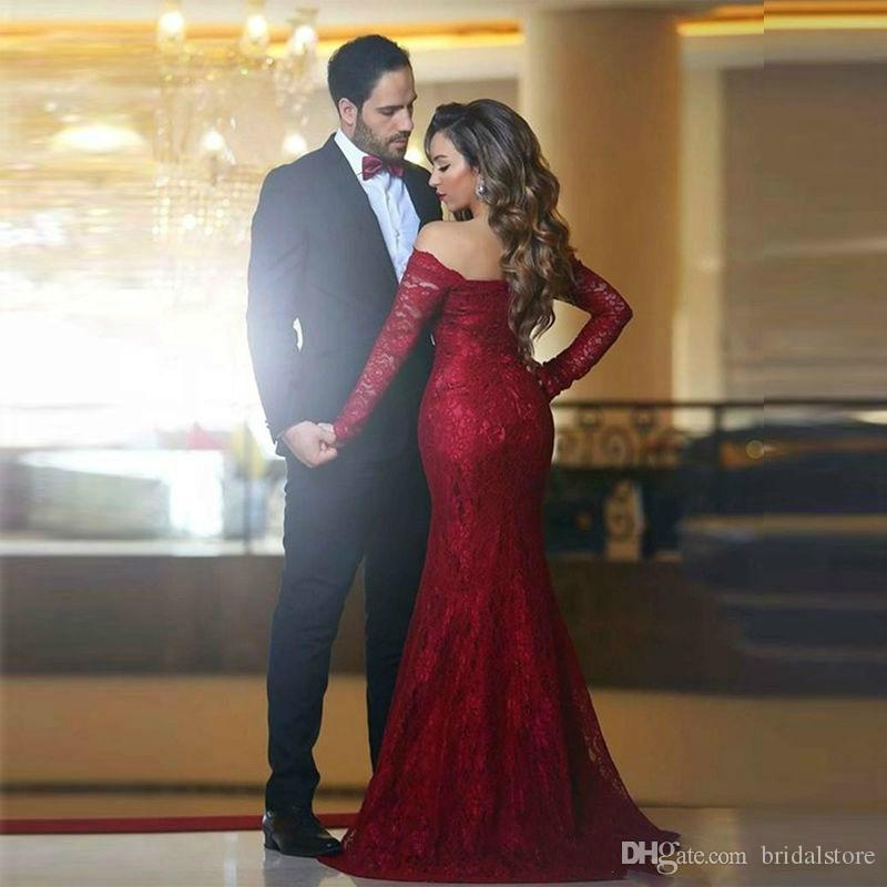 Elegant Red Lace Formal Evening Gowns Mermaid robe de soiree 2019 Bateau Prom Party Dresses With Long Sleeve South Africa robe de soiree