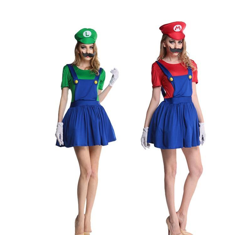 Hat Womens Super Mario Luigi Brothers Plumber Fancy Dress Up Party Costume