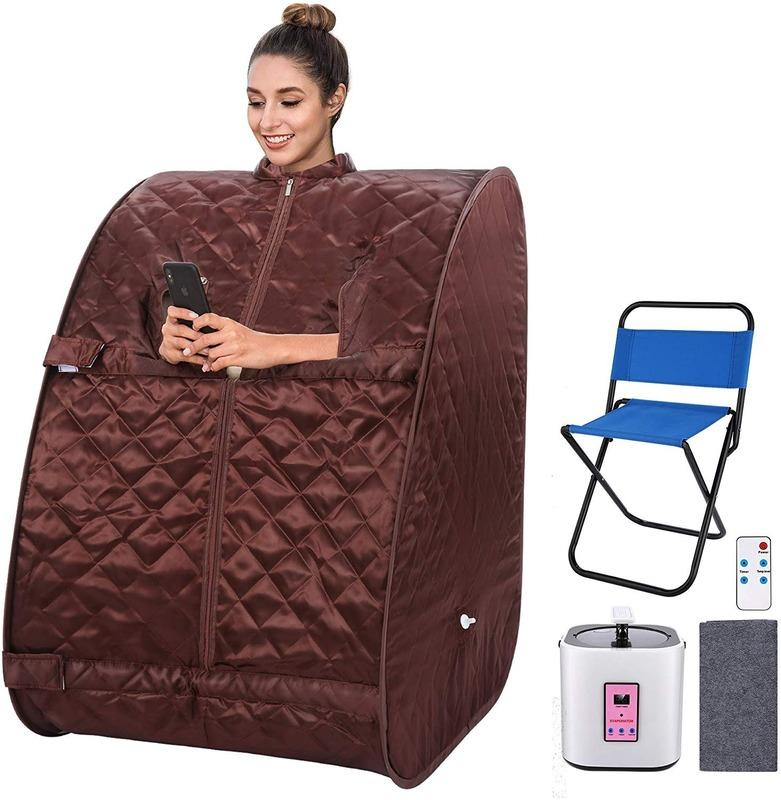 Portable One Person Sauna with Remote Control Personal 2L Steam Sauna Therapeutic Sauna Home Spa for Weight Loss Detox Relaxation slim