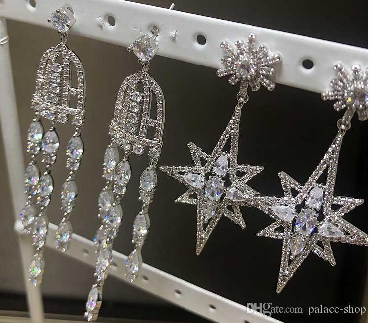 Благородная низкая цена, высокое качество, кристалл диамода 925, серебро, более стиль, оптом 2 пары / много женских сережек (выберите две пары из более (18.8тр