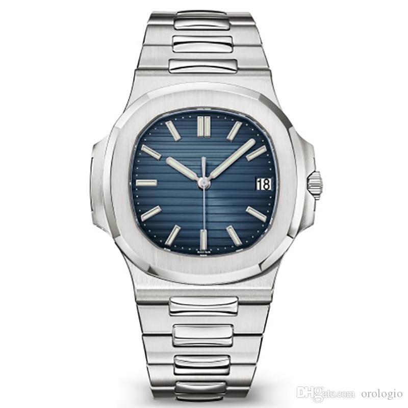 Otomatik erkekler lüks saat 5711 gümüş kayış mavi paslanmaz mens mekanik orologio di lusso kol saati izlemek