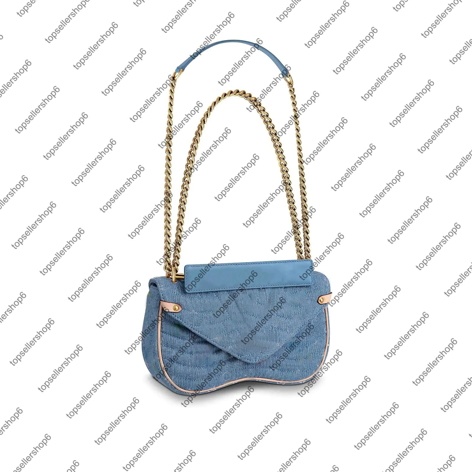 M53692 WAVE catena di borsa MM Women della tela Fiori fiore Denim bag tracolla a catena in oro borsa borsa borsetta sera crossbody