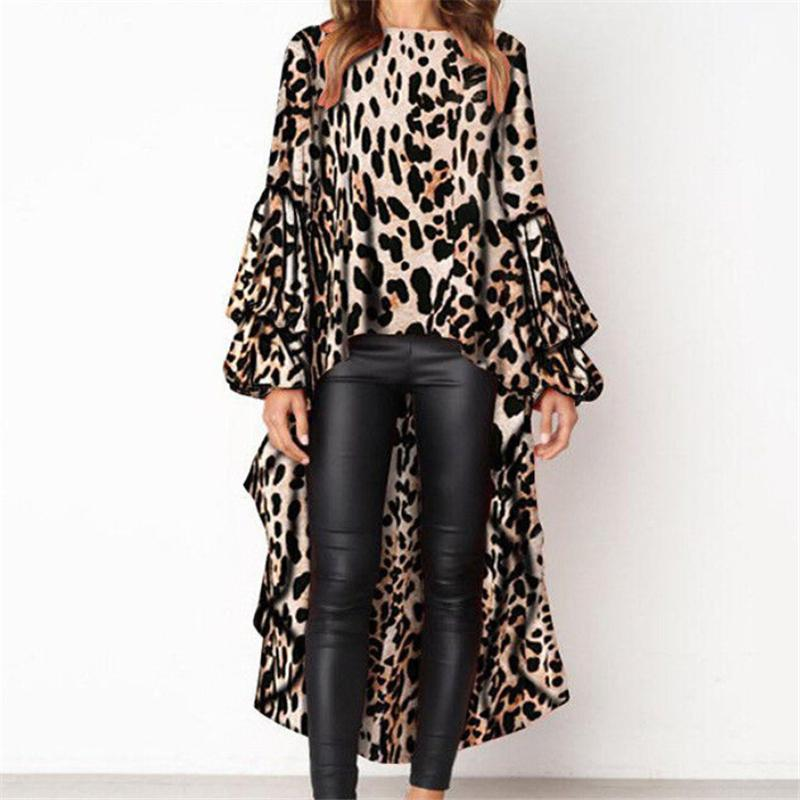 Damen Blusen und Tops Fashion Party Blusen Tops für Frauen Sexy Shirts lose Bluse lange Frauen Leopard Bluse Drucken
