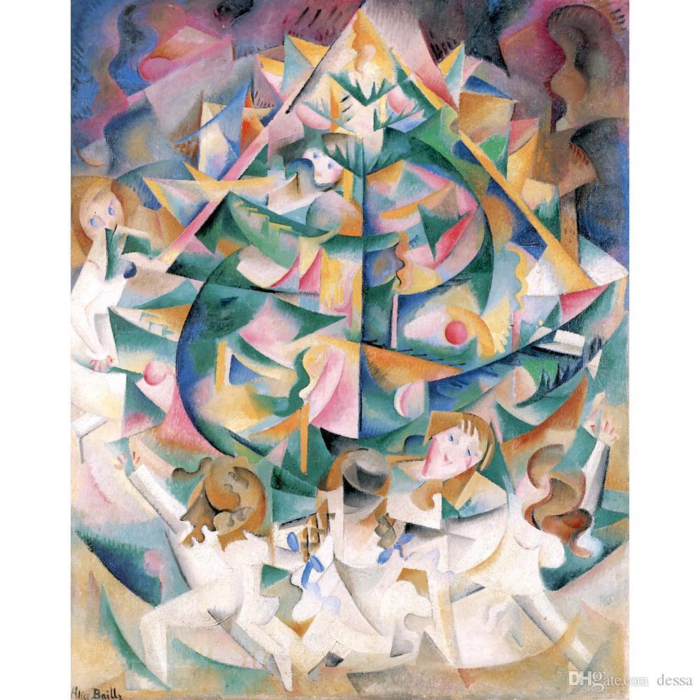 Huile abstraite peinture Art Joy autour de l'arbre par Alice BaillyHand peint un décor de salle de bureau