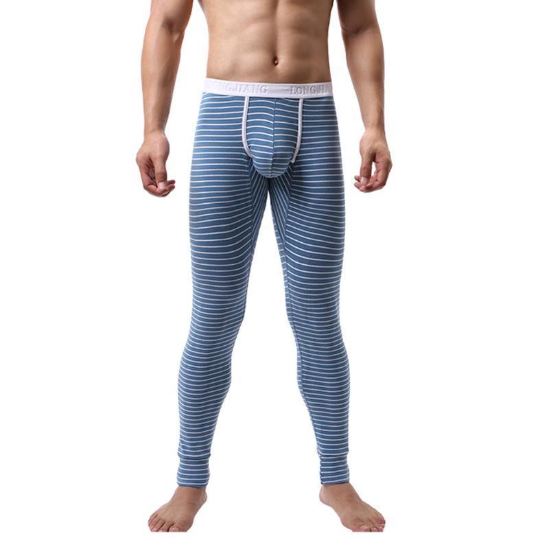Men's Sexy Underwear Keep Warm Leggings Stripe Sexy Stretch Breathe Thermal Convex Separation Slim Mid Long Pants Homme