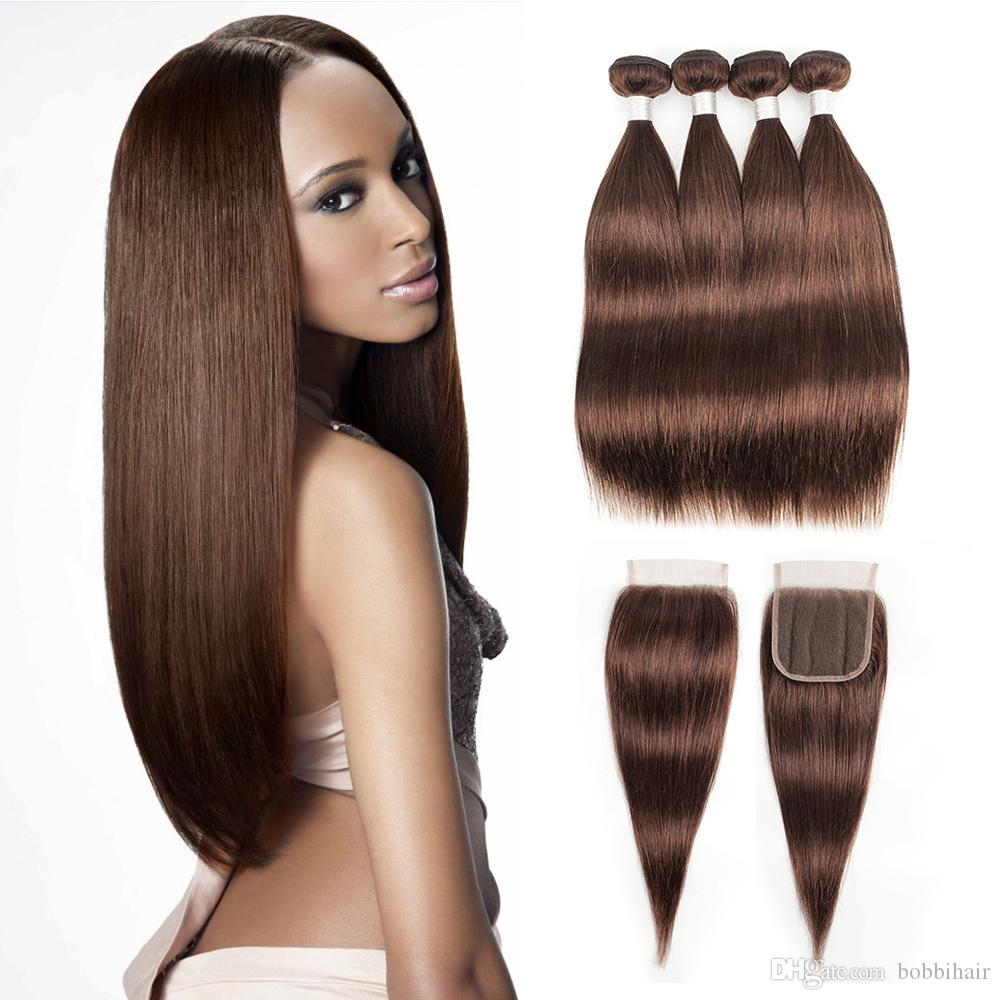 #4 Chocolate Brown Human Hair Bundles With Closure Brazilian Straight Hair 3/4 Bundles with 4*4 Lace Closure Remy Human Hair extensions
