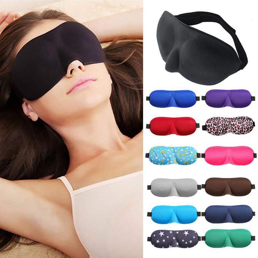 3D sueño mascarilla natural Dormir máscara de ojo visera cubierta de la cortina Patch Mujeres Hombres de ojos suave portátiles herramientas de viaje con los ojos vendados Eyepatch RRA1377