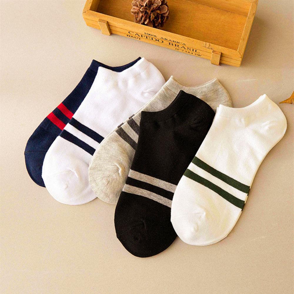 1 paire Fahsion Concise style Stripe cheville Équipage Hommes chaussettes en coton coupé bas Casual Couleur Hot
