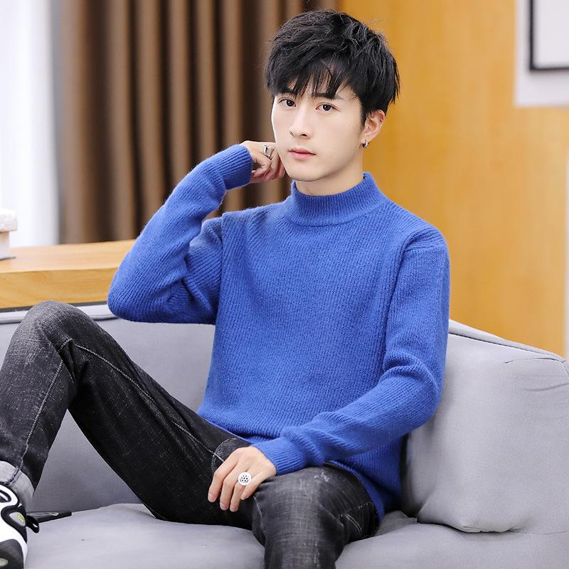 Suéteres de manga larga Hombres Suéter de manga larga Black Blue Turtleneck Pullovers Casual Moda Hombre Invierno Rosa Rojo Amarillo