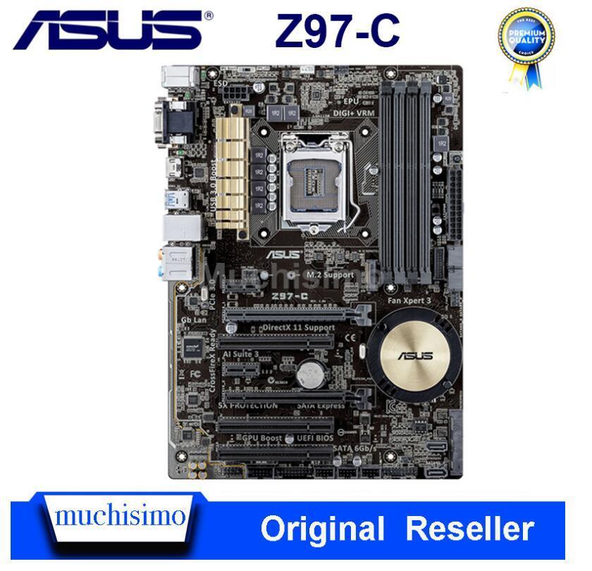 Utilisé LGA 1150 Asus Z97-C Carte mère Intel Z97 DDR3 32GB Cpu Core i3 i5 i7 PCI-E 3.0 d'origine Asus Bureau Z97-C ATX Mainboard