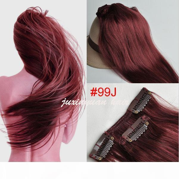 Wholesale-5A 10 Pcs 180 grams 18inch - 26inch clips in Straight #12 #16 #18 #30 33# Full Head remy Hair Clip in Hair Extension Straight