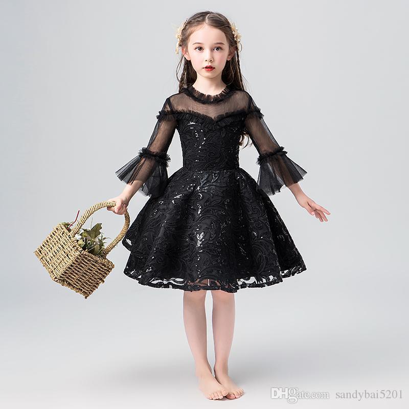 Pista niñas de vestir para niños de chicas negro de lentejuelas vestidos de asimetría para vestido de novia de princesa Party regalo de cumpleaños cosplay S391