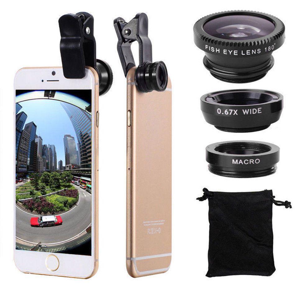 Universal 3 em 1 grande angular macro fisheye lente da câmera do telefone móvel lentes de olho de peixe lentes para iphone 6 7 smartphone microscópio
