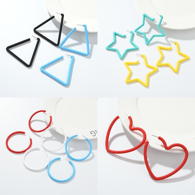 Yeni Geometrik Hoop Küpeler Kadınlar Kore Stil Kalp Yıldız Yuvarlak Üçgen Şekli Tatil Küpe