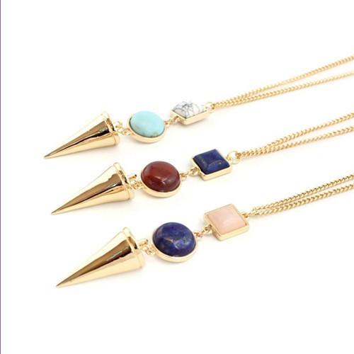 Wholesale 10 PCS Colgante Colgante Colgante Colgante Collar Pirámide Pyramid Alloy Capa Rosa Quartz Lapis Lazuli Jewelry