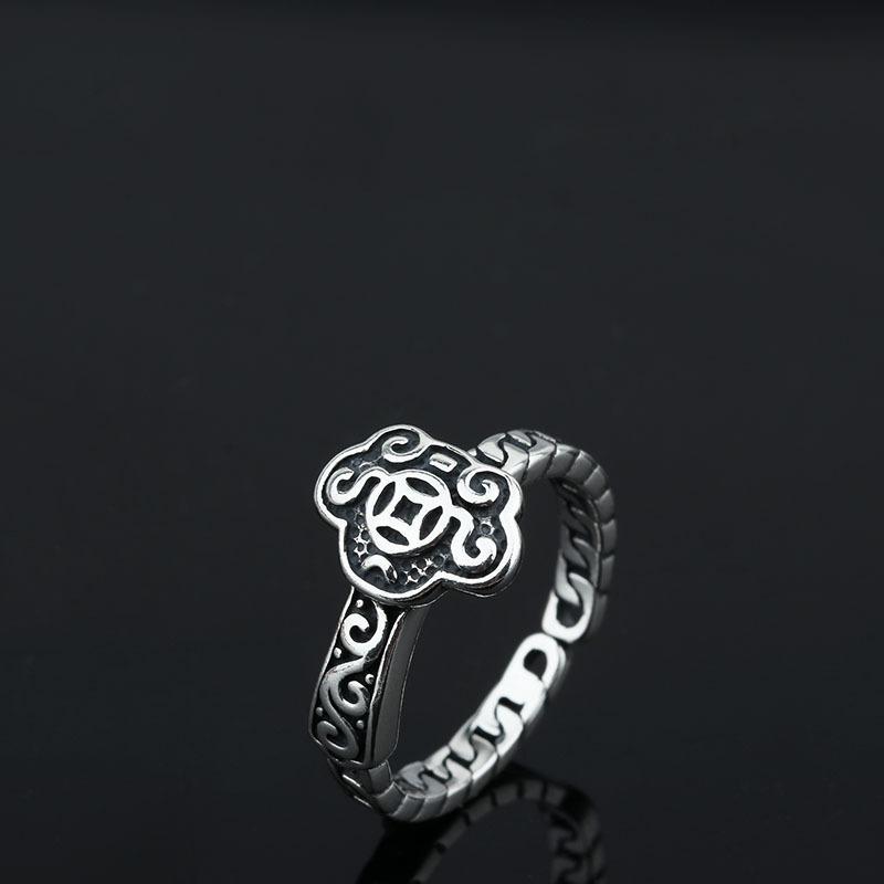 S925 cáñamo anillos de tejer tailandés de la vendimia de plata anillo abierto Mujeres Moda