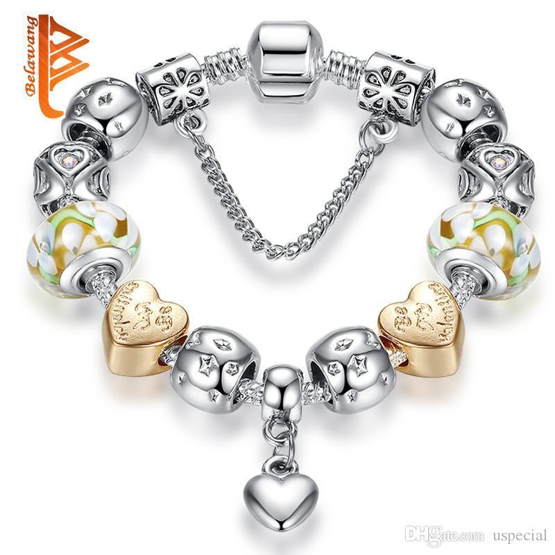 USpecial İçin Sevgililer Hediye Avrupa Tarzı Gümüş Kaplama Kalp kolye Charm Bilezikler Çiçek Lampwork Boncuk BraceletBangle Ücretsiz Shi