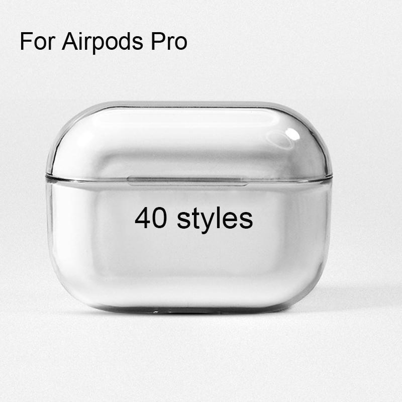 40styles Per Airpods Pro caso trasparente protettiva rigida Airpods 3 auricolare senza fili Bluetooth del PC di cristallo customzie il proprio logo