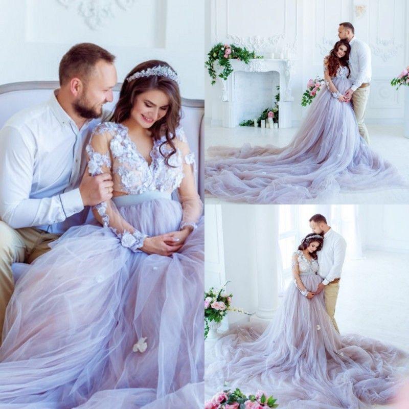 Лаванда Country A Line Свадебные платья с длинными рукавами 3D цветочные аппликации для беременных Свадебные платья больших размеров Свадебные платья Beach robe de mariée