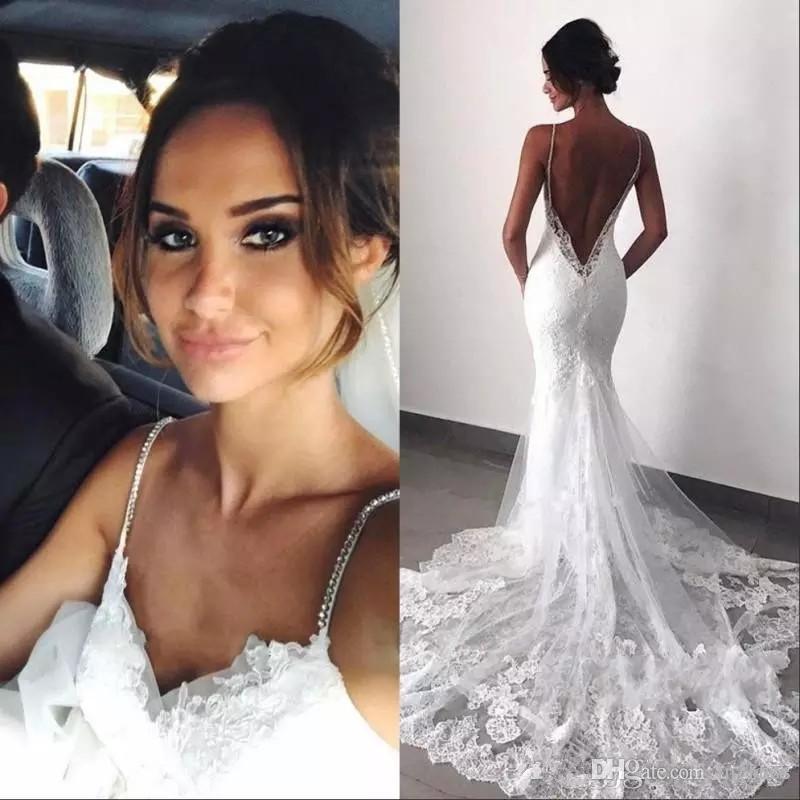 2019 moderne Sexy Style Backless sirène robes de mariée cristaux bretelles spaghetti sirène dentelle robes de mariée taille personnalisée