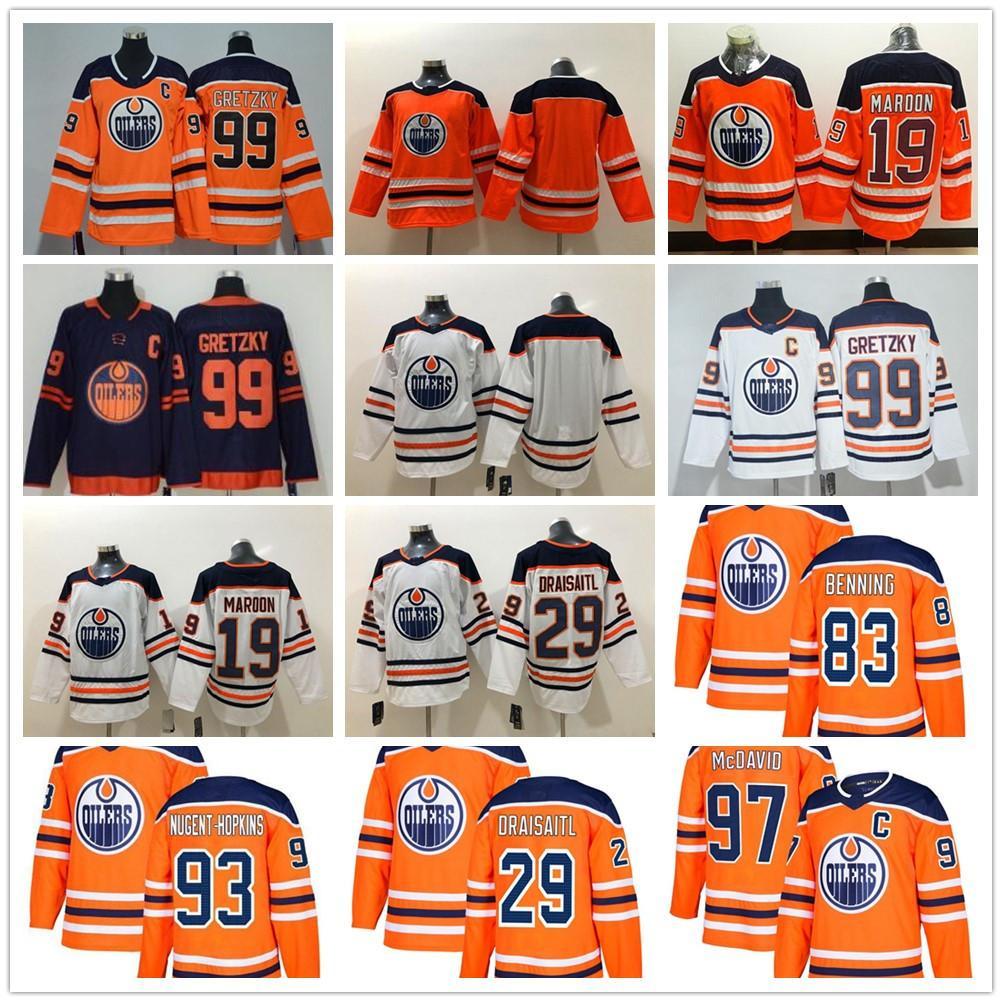 Edmonton oilers 97 Connor McDavid Jersey 99 Wayne Gretzky 29 Leon Draisaitl 93 Ryan Nugent-Hopkins 하키 유니폼