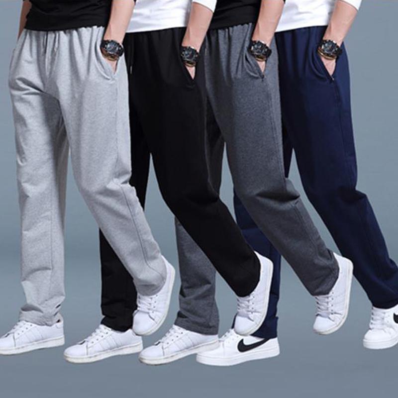 de 2020 nuevo del algodón de los hombres ocasionales de los pantalones del verano del resorte de los hombres pantalón de entrenamiento de invierno pantalones de cintura alta recta floja Sweatpants pantalones Y200518