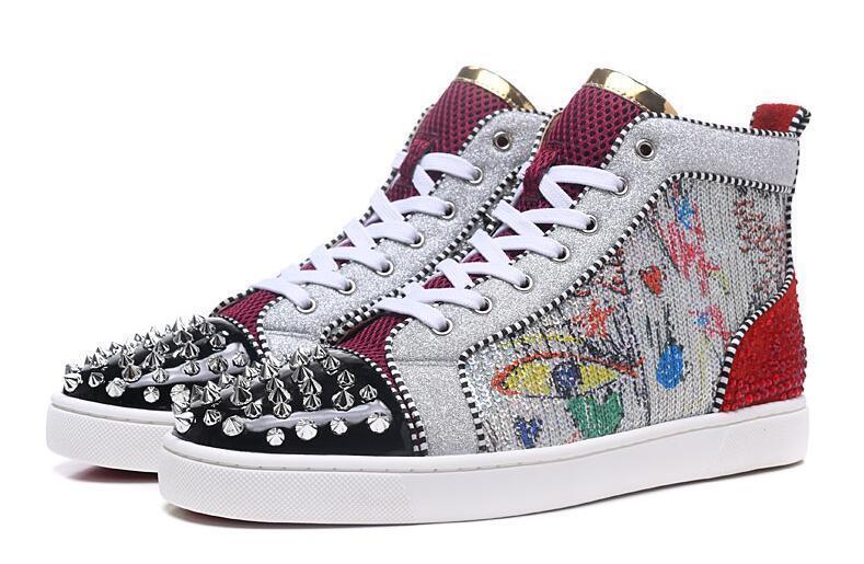 Hot Sale-es baskets cloutées Spikes plat pour Hommes Femmes paillettes Party Lovers Véritable rivets occasionnels en cuir Sneaker