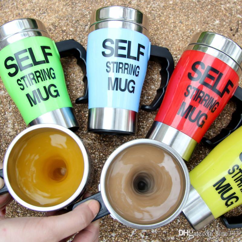 6 цветов 350 мл самостоятельное перемешивание кружка из нержавеющей стали ленивый самостоятельное перемешивание кружка авто смешивание чай Чашка кофе офис Главная подарки CCA7120 60 шт.