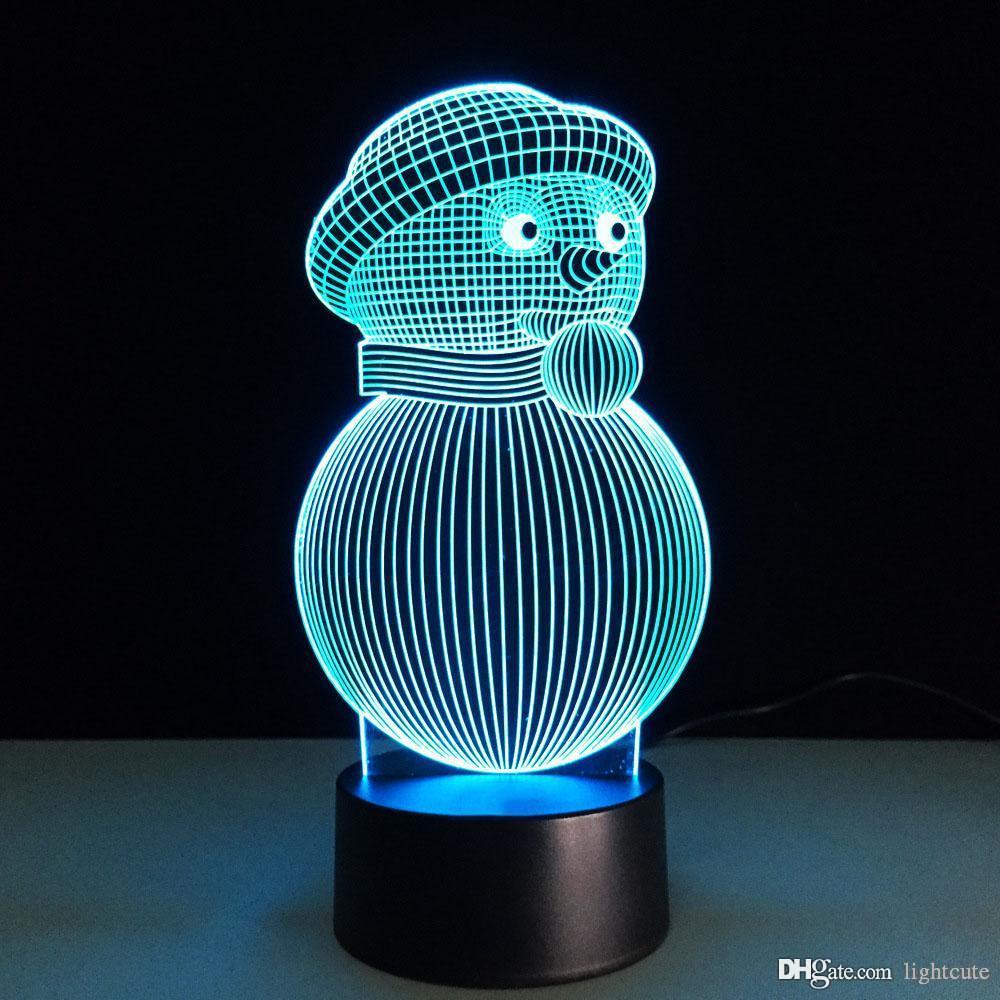 3D LED 7 colori cambiamento visivo USB Snowman NightLight Atmosfera Desk Lamp creativa Camera Light Fixtures per il capretto regalo di Natale