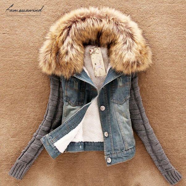 Düğme Kadınlar Bahar Denim Ceket Sahte Kürk Casual 2019 Giyim Palto Kadın Jeans Coat Drop Shipping Tops