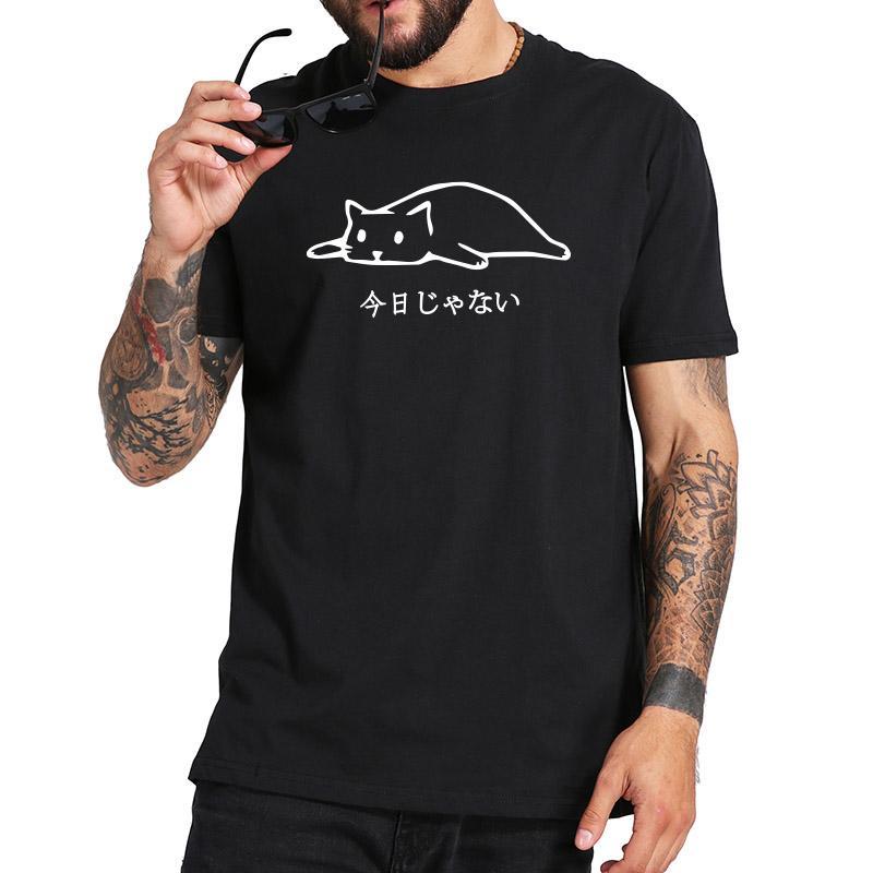 S-3XL 100% хлопок оригинальный дизайн Не сегодня японская Sleep Cat Black Crew Neck Мода Футболка