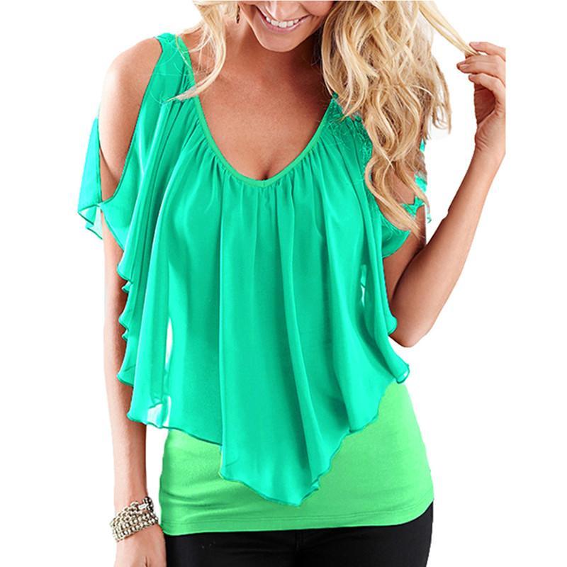 Summer Sexy Plus Size T-Shirt Women Tshirt Oversized T Shirt V Neck Vest Tank Ruffle Tops Female Tunic Tee Shirt