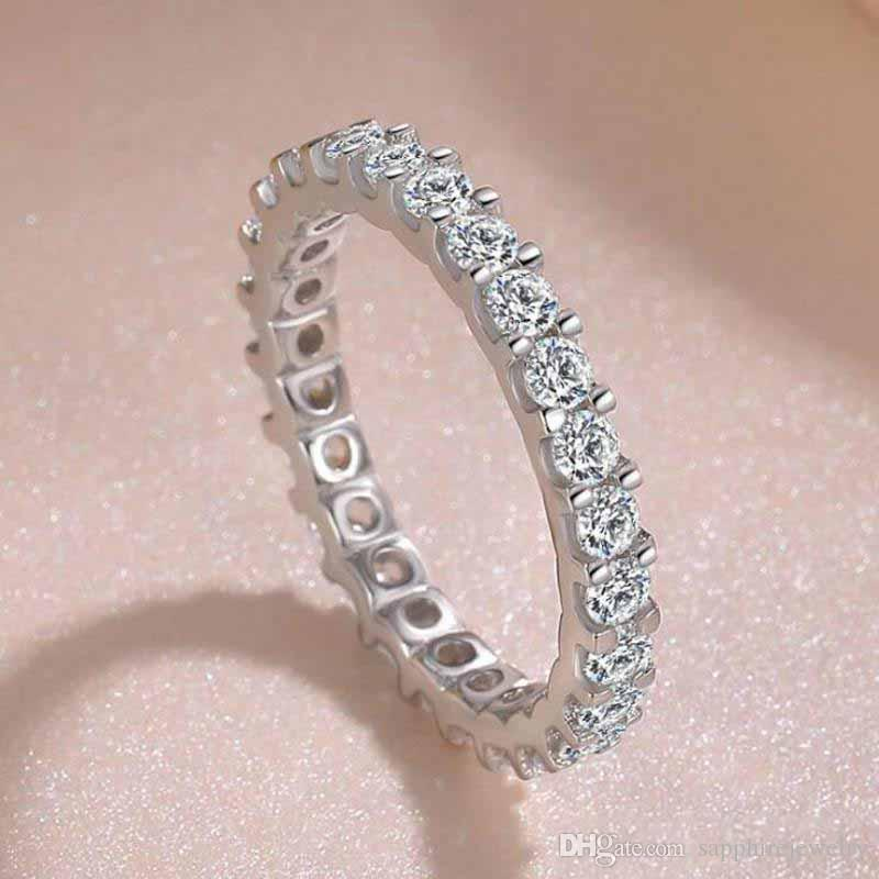 Men/'s Wedding Band White CZ Cute Stackable Ring .925 Sterling Silver Sizes 5-11