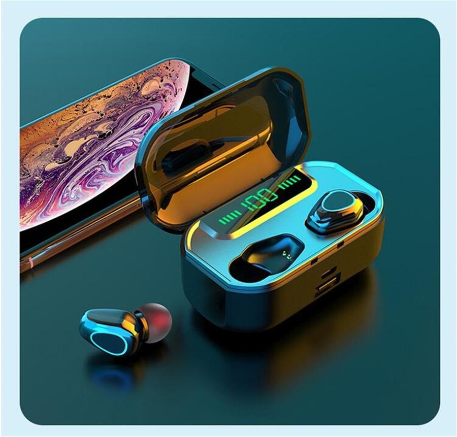 5.0 F9 Tws sem fio Bluetooth Fone de ouvido com carregamento Box Esporte Headset Cancelamento de Ruído Com Power Bank Led Displa # OU954