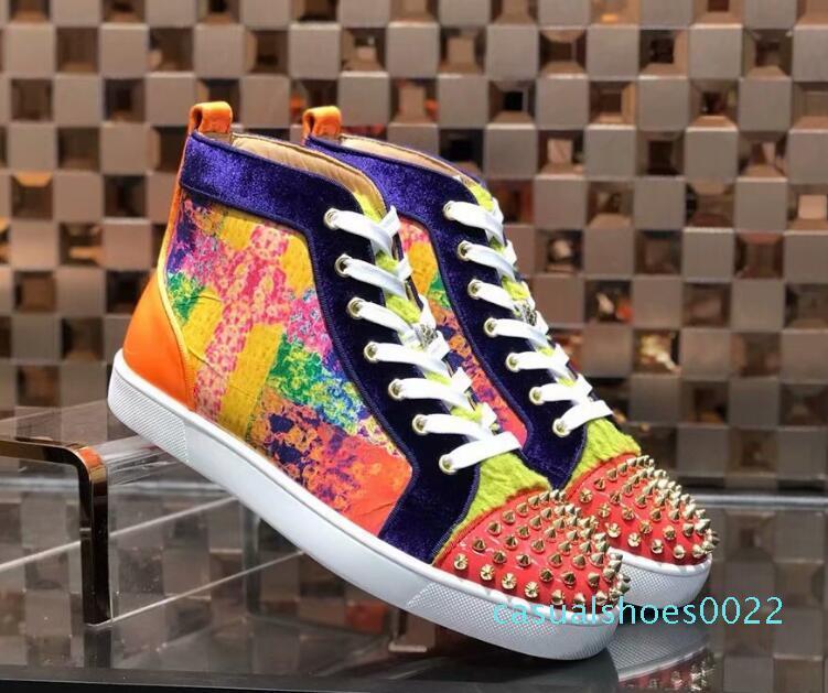 Mutil ani Merhaba Çivili Dikenler Casual Flats Kırmızı Alt Lüks Ayakkabı Yeni için Erkekler ve Kadınlar Partisi Tasarımcı Sneakers Aşıklar Gerçek Deri c22