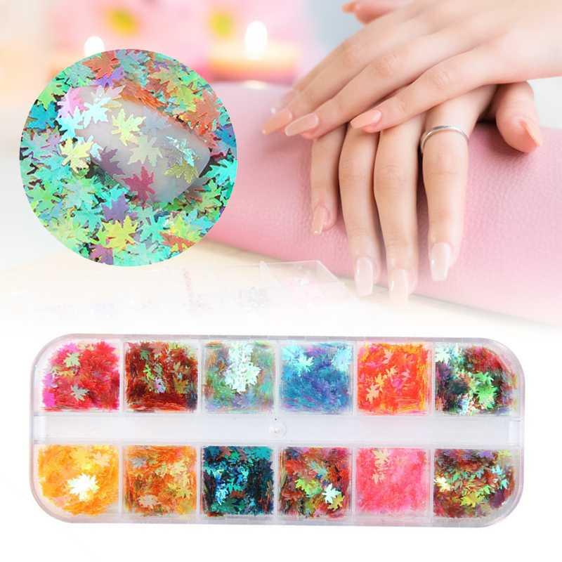 12 Boxed Sparkly Couleurs Nail Mixed Nail Holographic couleur Glitter Paillettes Flakes Tranches Accessoires Art