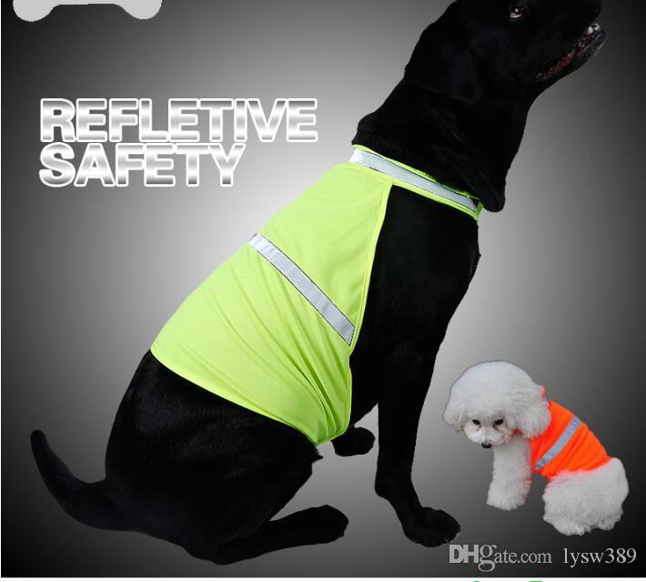 Fluorescencia reflectante en la noche del perro ropa transpirable chaleco de seguridad perro Ropa Suministros de alimentos para mascotas Hogar Jardín HA095