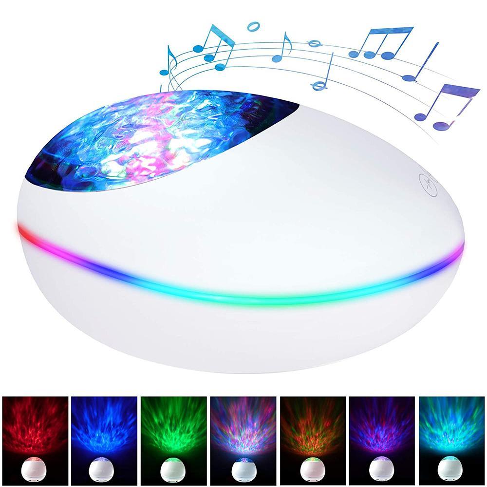 Télécommande Night Light TF Cartes minuterie Projecteur LED Chambre Décor Bluetooth Musique LED Haut-parleur Lecteur Ocean Wave Projecteur