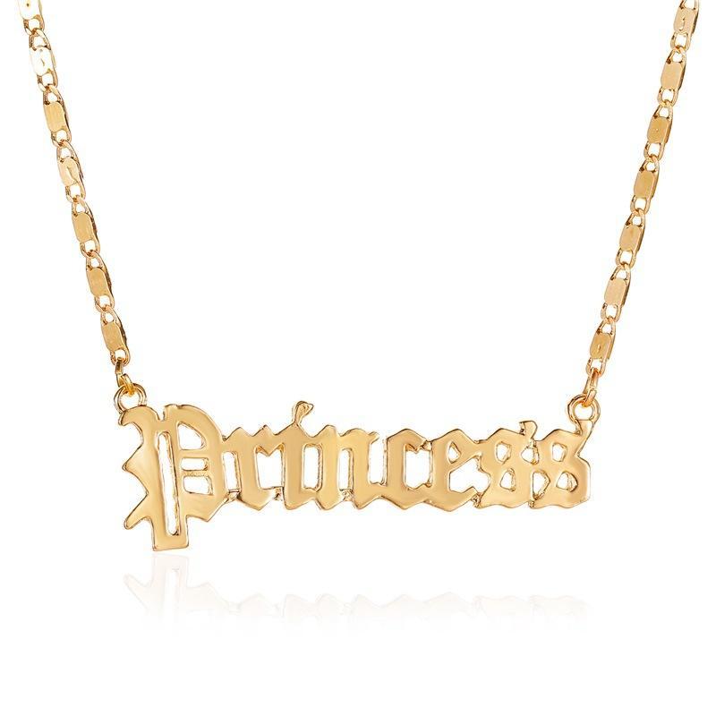 2020 Nueva Cadena de Oro princesa del ángel de la niña de letras iniciales joyería colgante partido de la moda de Corea del collar Gargantilla