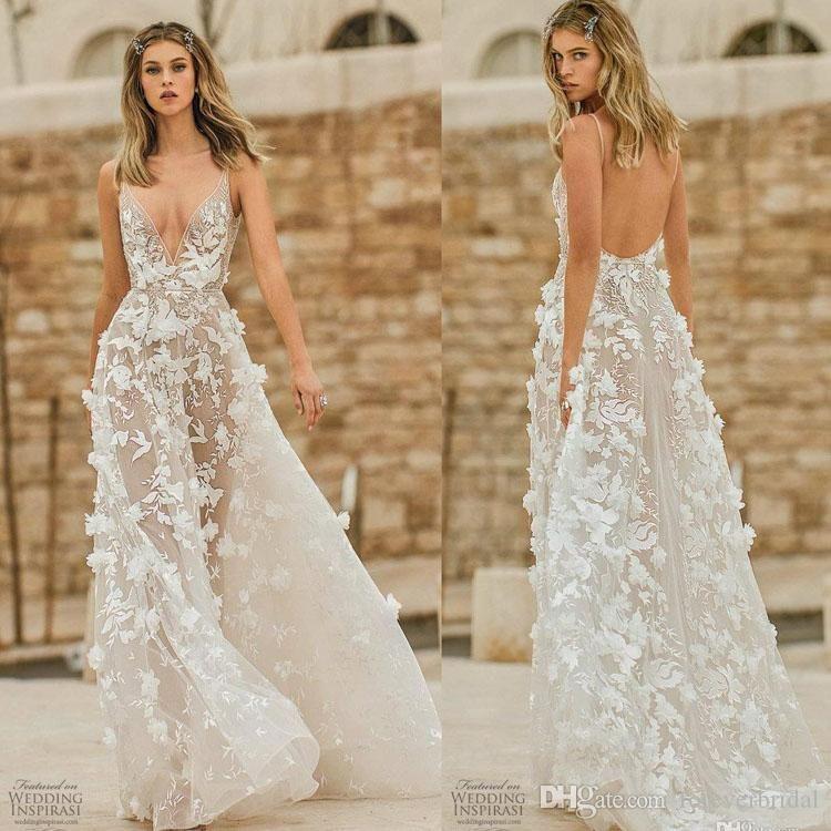 Berta 2020 vestidos de casamento Lace florais 3D Appliqued Pescoço V Backless vestidos de noiva Illusion A Linha Bohemian vestido de casamento