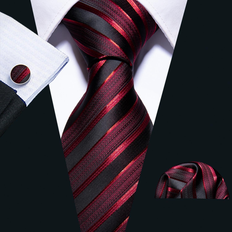 العلاقات الشحن السريع رجل 100٪ مصممين الحرير الأزياء الأسود المشارب الحمراء التعادل هانكي أزرار أكمام مجموعات للرجال حفل زفاف رسمي العريس N-5022