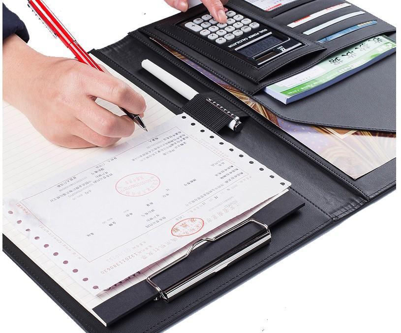 A4 Менеджер папок Многофункциональный кожаный офис Папка Включает 12-разрядный калькулятор Clipboard бизнес органайзер