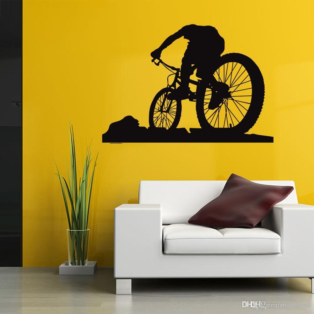 Fahrrad Sport Wandaufkleber PVC Schwarz Radfahrer Wandbild Tapete für Wohnzimmer und Jungen Zimmer Wohnkultur