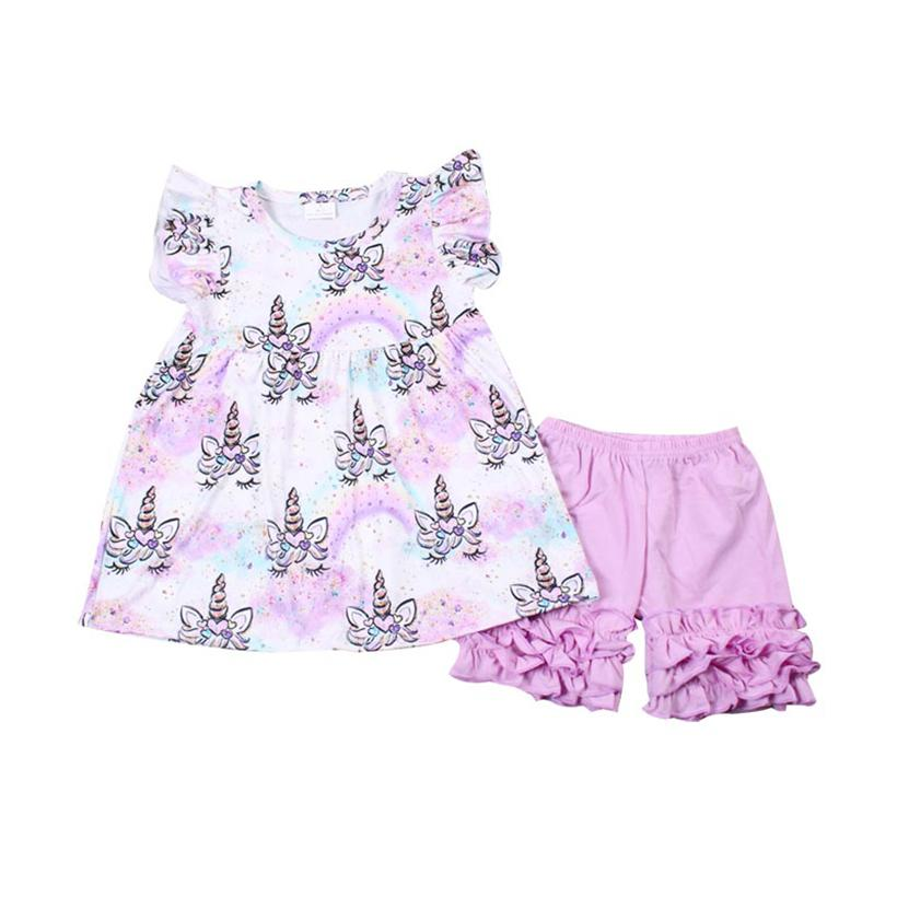2020 New Girls Summer Outfits Boutique Clothes Set Purple Short Sleeve Top Pants Suit Baby Girls Clothing Kids Summer Bulk Wholesale Sets