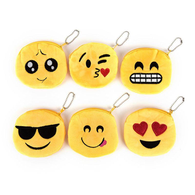 100PCS 10CM Cute Cartoon Coin Bag Emoji Toys 4inch Smile Zipper Plush Coin Purse Women Wallets Mini Change Pouch Cool Happy Children Gifts