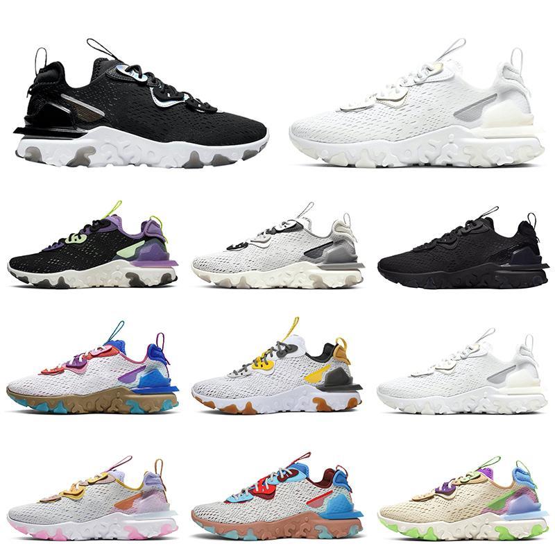 Reagir Visão Elemento 87 55 Mens Trainers Running Shoes Triplo Preto Branco Homens Mulheres Sports Sneakers Tamanho 5.5-11